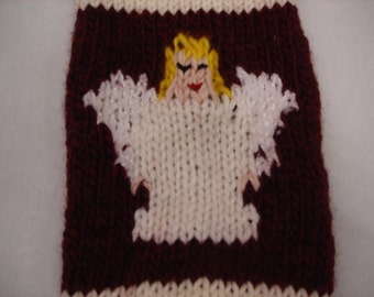 Hand Knitted Angel Christmas Stocking Custom Made Personalized