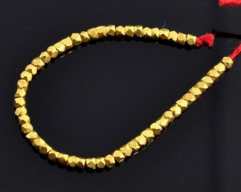 """2mm 18k Solid Yellow Gold Handmade Nuggets Findings Beads 2.1"""" Strand (36)"""