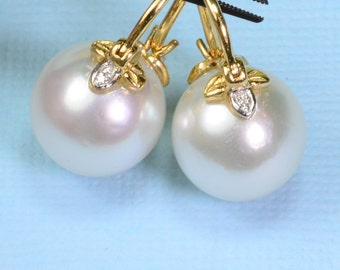 18k Solid Yellow Gold 12.5mm South Sea White Pearl Earrings With Diamond Accent