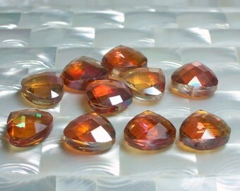 10pcs Flat Briolette Large/Jumbo Chinese Crystal Glass beads Fully Faceted Fire Opal color 16 by 18mm Jewelry Jewellery Craft Supplies