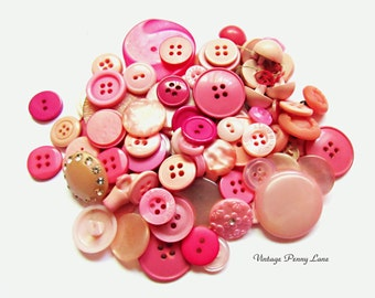 Vintage Pink Plastic Button Lot / 100