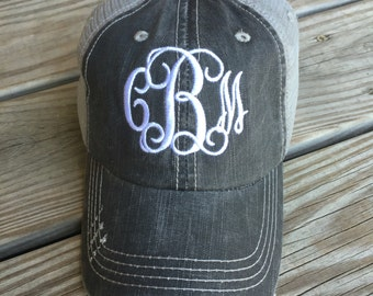 Monogrammed Black Trucker Hat