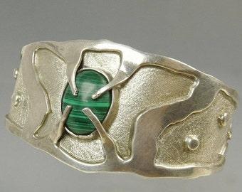 Vintage Brutalist Cuff Bracelet Mexico Sterling Silver 925