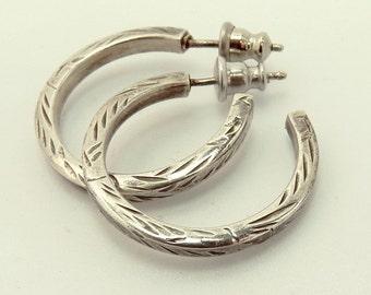 Vintage Sterling Silver Hoop Earrings Etched 925 Earrings