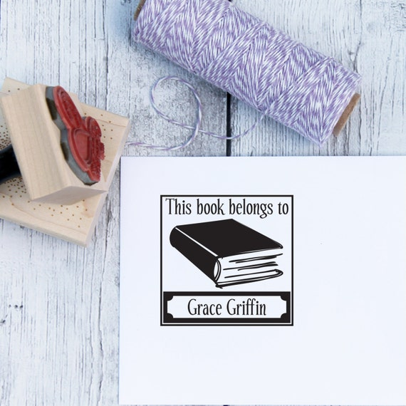 Custom Rubber Stamp - Bookplate, Library Stamp, Teacher Stamp, Book Stamp, Wooden Stamp, Self Inking Stamp, Ex Libris