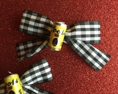 Coors Beer Cans on Black & White Gingham Hair Bows ~ Ready To Ship