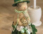 Paper mache St Patricks Bunny Rabbit w/Green and White Flowers