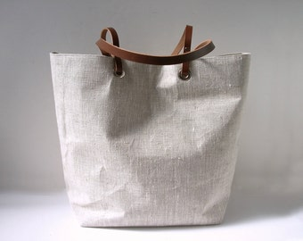 Simple Tote Bag, Natural, Neutral Linen Bag, Beach Bag,Casual Tote, Everyday Tote, Simple, Casual Handbag, Minimalist Bag