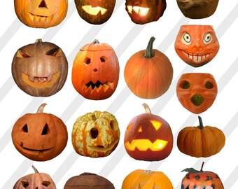 Digital collage sheet, Halloween Pumpkins, Jack-O-Lanterns, Individual PNG Files (Sheet no. H41) Instant Download