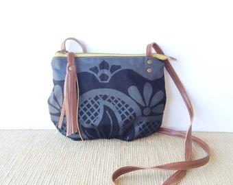 date purse  • black crossbody bag • pearl black geometric floral print - black canvas - gifts under 50 - screenprinted • talavera