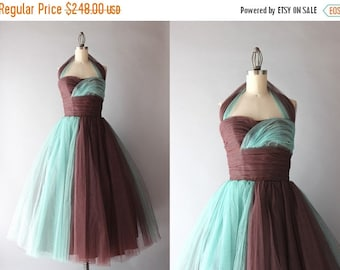 STOREWIDE SALE 1950s Party Dress / Vintage 50s Grecian Tulle Formal / Chocolate and Turquoise Strapless Halter Dress