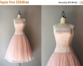 STOREWIDE SALE 1950s Party Dress / Vintage 50s Tulle and Lace Pale Pink Party Dress / 1950s Frothy Sundress