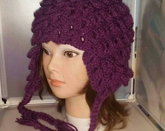 Beanie with Ear Flaps, Pom-poms, Crocodile, Scales, Cosplay Hat