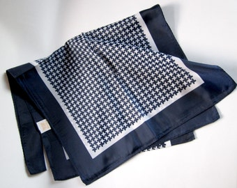 Vintage Glentex houndstooth print navy blue nylon scarf Made in Japan MIJ