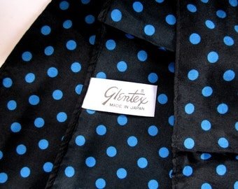 Vintage Glentex polka dot turquoise blue and black polyester scarf Made in Japan MIJ