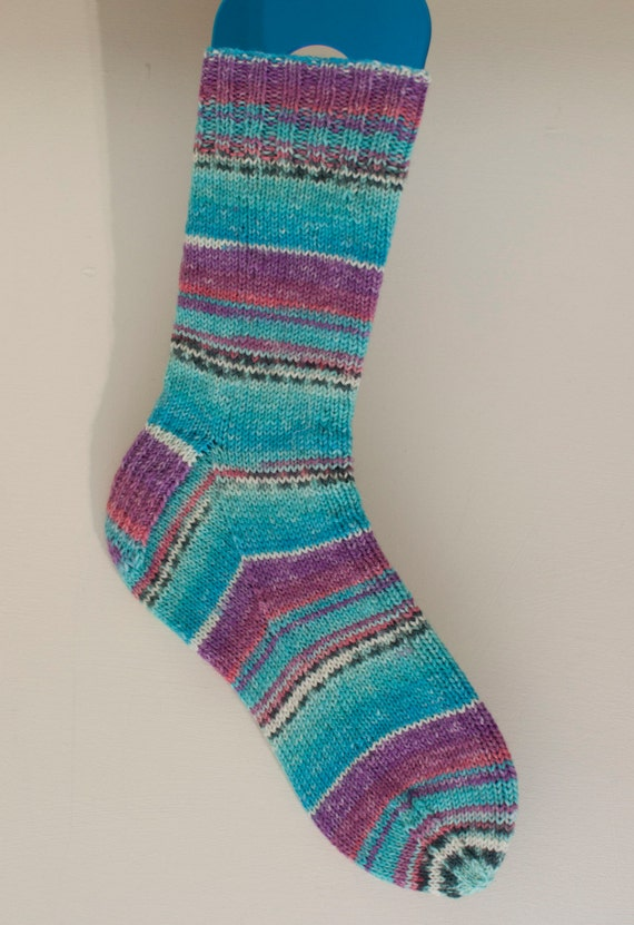 Narrow Fitting Handknitted Socks in Turquoise and Purple