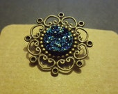 Beautiful Steampunk Faux Blue Druzy Brooch