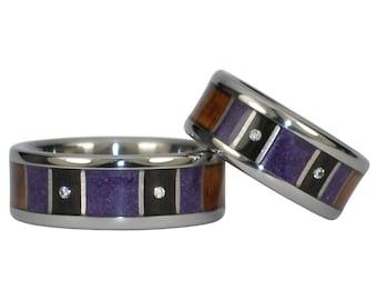 Black Wood, Sugilite and Diamond Ring Set