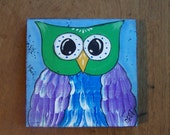 Owl Painting Bright, colorful, whimsical original folk art painting