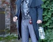 Black Silk Hemp Highway Man's Frock Duster Coat
