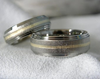 Matching Ring Set or Wedding Bands, Titanium with Yellow Gold Inlay