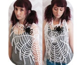 INSTANT DOWNLOAD - Great for halloween! - wearable spider web scarf cowl with fringe - PDF crochet pattern