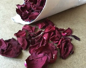 Dried rose petals for wedding confetti or papermaking, papermaking supply, paper inclusion, dry flower petals, dried flowers, rose petals