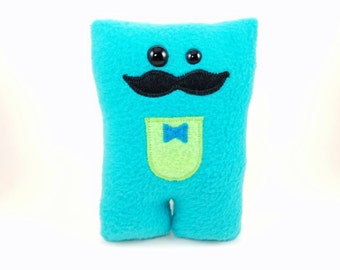 Dapper Moustache Nubbin - Aqua Turquoise Blue with Lime Green - Made To Order