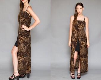 Vintage 90s Leopard Maxi Black W/ Black Mini Dress // GRUNGE Revival Mini Slip Dress - Size M L