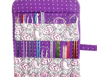 Ikat Knitting Needle Case, Purple Green Paisley Double Pointed Needle DPN Organizer, Crochet Hook Holder, Artist Supply and Brushes Storage