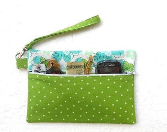 Lime Green Wristlet, Turquoise Floral Clutch, Polka Dots Small Purse, Front Zippered Wallet, Makeup Bag, Phone or Camera Bag, Wrist Purse