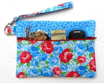 Blue Floral Wristlet, Red White Clutch, Front Zippered Womans Wallet, Small Ladies Purse, Phone or Camera Bag, Makeup or Gadget Case