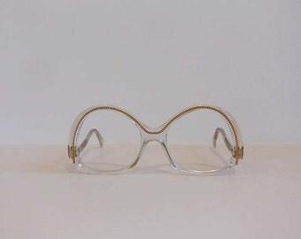 1980s eyeglasses / Embedded Floating Chain Vintage French Eyeglass Frames Sunglasses