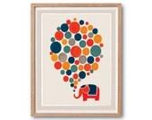 Little Elephant Big Dream Art Print - Animal Illustration, Drawings Illustration, Children Room decor, Kids room art, Nursery room Art