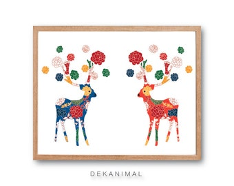 Deer Wedding Art Print - Deer Illustration, Reindeer Art print, Animal Illustration, Rose Flower Pattern, Floral Print, Kids room Art