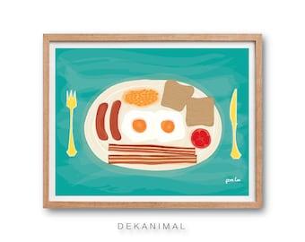 All Day Breakfast Art Print, Kitchen wall decor, Food illustration, Watercolor Illustration, Children rom decor, Kids Room decor