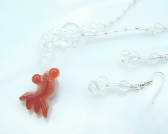 GEMSTONE SET - 'Bubbles' the Koi Fish Agate Pendant Necklace and Earrings Orange and Clear