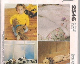 McCalls Crafts 2546  Lounge Around Pets, Stuffed Cow, Cat, Bunny, Dog - Softies, Draft Stoppers, Stuffed Animal Pattern