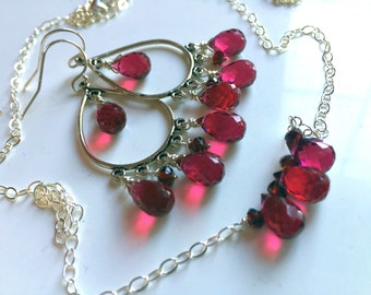 Christmas Necklace and Earring SET,  Christmas Gift, Chandelier Earrings Necklace, SPECIAL PRICING, Style: Ruby Slippers, gemstone jewelry
