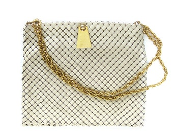 1960s Vintage Whiting and Davis Mesh Bag Purse / Ivory Metal Mesh / Designer Evening Bag