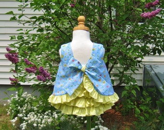 Baby girl, ruffled top, ruffled bloomers, blue & yellow, size 12 Mo, ready to ship, infant set, baby gift, whimsical, summer outfit, romper