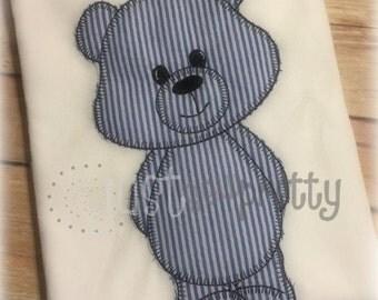 Vintage Blanket Boy Teddy Bear Applique Embroidery Design