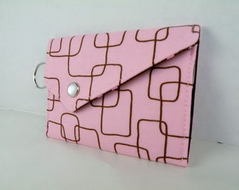 Pink Brown Geometric Card Holder Coin Purse with Snap Closure and Key Ring BANGLES