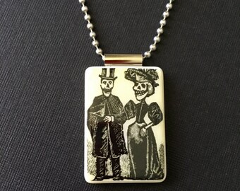 Day of the Dead, Pendant, Halloween, Jewelry, Necklace, Skull, Skeleton, Handmade, Recycled, Reversible, MahJong, Ball Chain