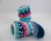 Crochet Baby Booties 6 months Mukluk Baby Booties Multicoloured Crochet OOAK