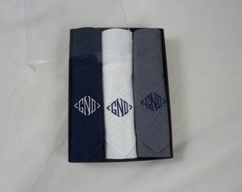 Monogrammed Handkerchiefs Men Set of 3 Assorted Solids