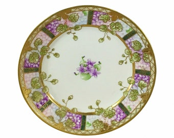 1910s Nippon Moriage Violets Plate, Hand Painted Gold and Purple