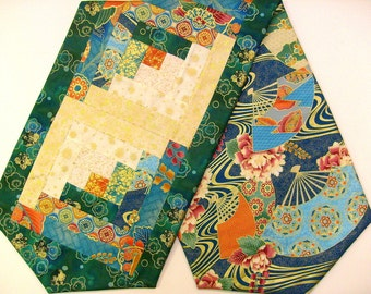 Asian Inspired Patchwork Log Cabin Table Runner - Sayomi