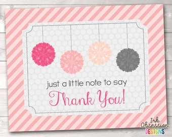 Printable Thank You Card Design - Pink and Gray Pom Poms Polka Dots and Stripes INSTANT DOWNLOAD