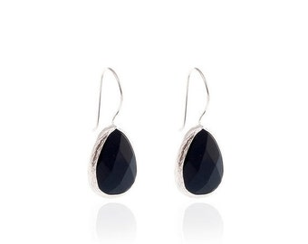15% Discount Onyx Drop Earrings with Silver Settings